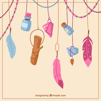 Fantastic background with ethnic objects hanging