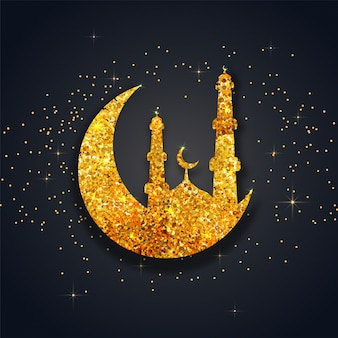 Fantastic background with glittering mosque and moon