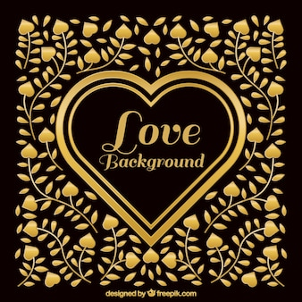 Fantastic background with golden hearts and floral decoration