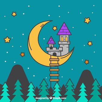 Fantastic background with moon and castle