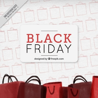 Fantastic background with red shopping bags for black friday