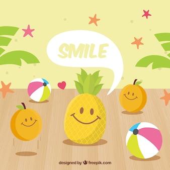 笑顔の果実の文字を持つ素晴らしい背景