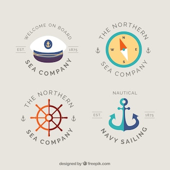 Fantastic badges with sailor elements