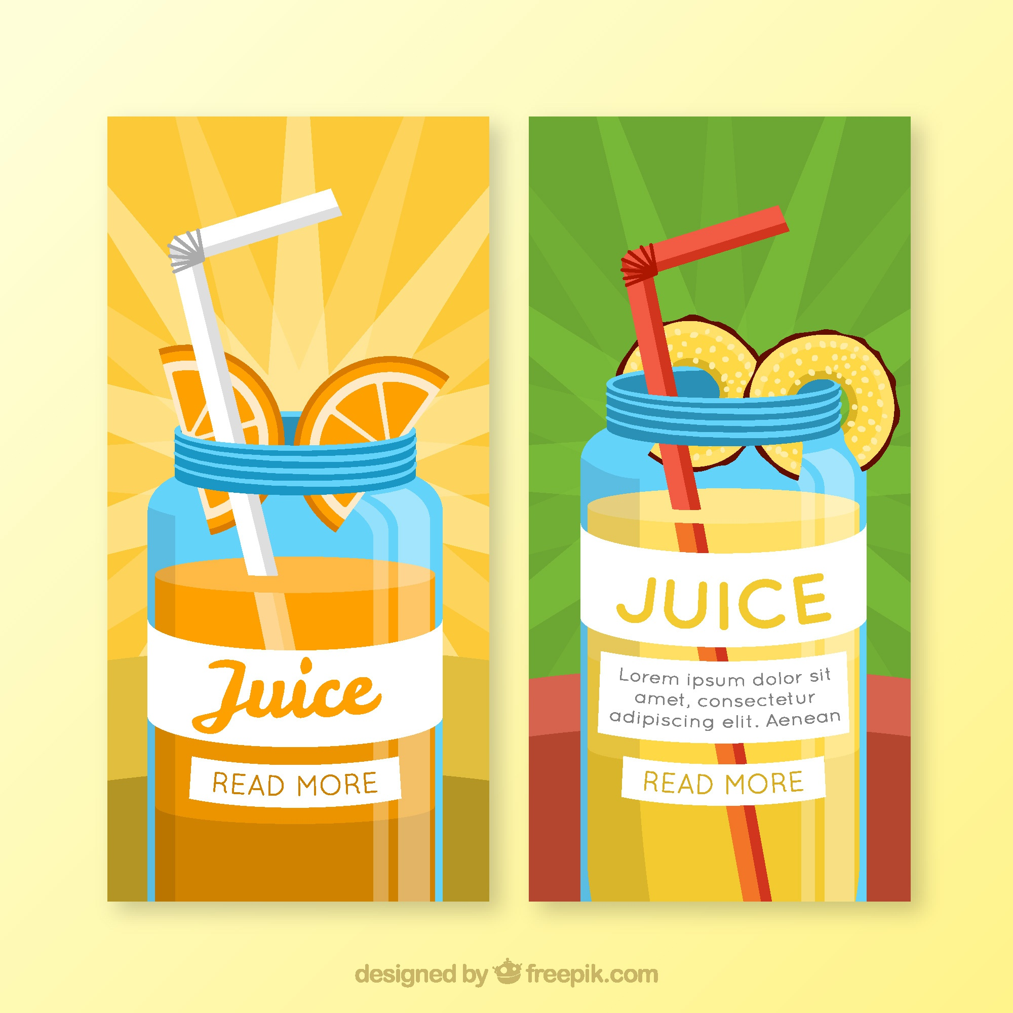 Fantastic banners of tasty fruit juices