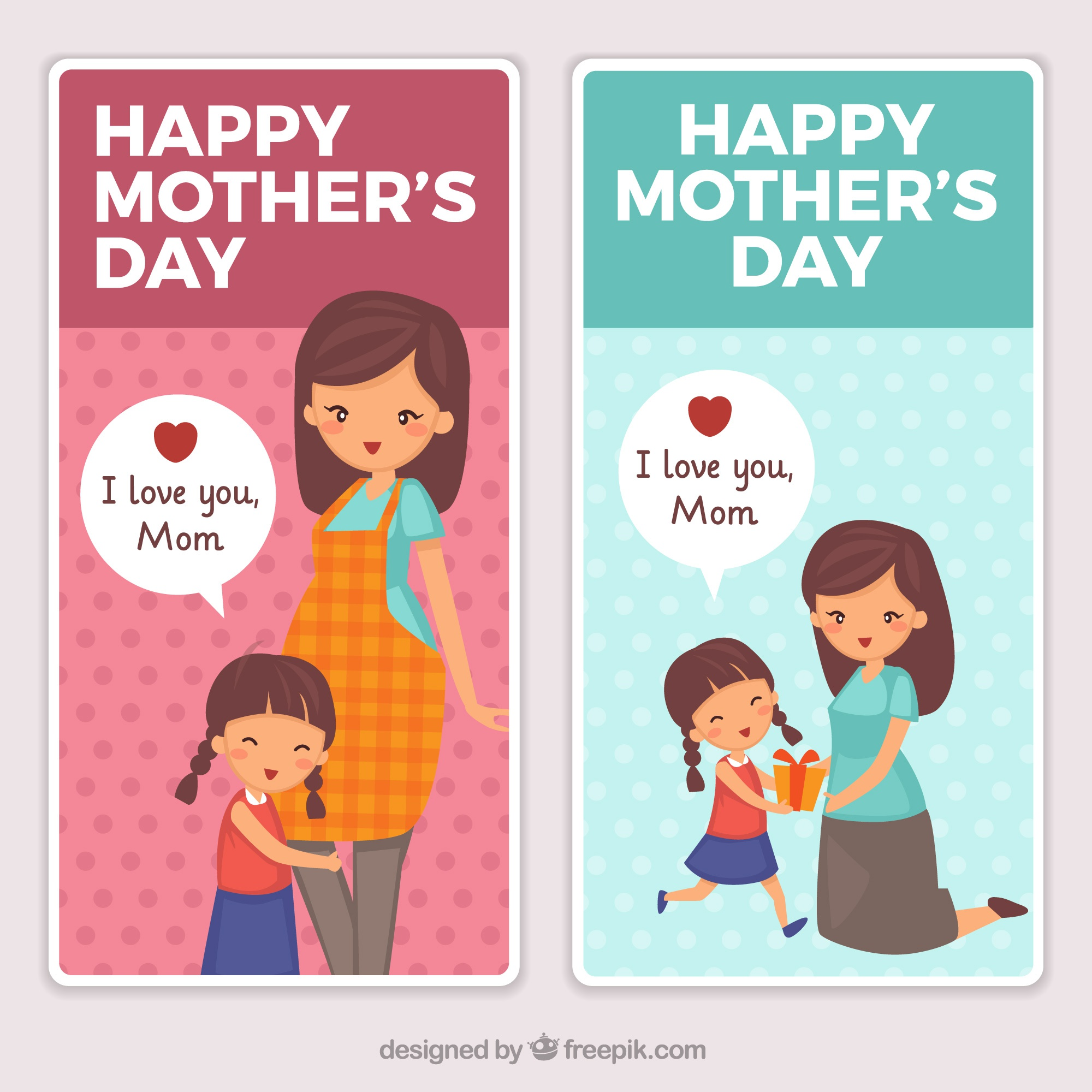 Fantastic banners of woman with her daughter for mother's day