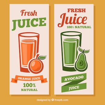 Fantastic banners with avocado and orange juices