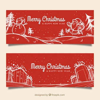 Fantastic banners with gifts and christmas characters