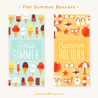 Fantastic banners with ice creams and summer objects