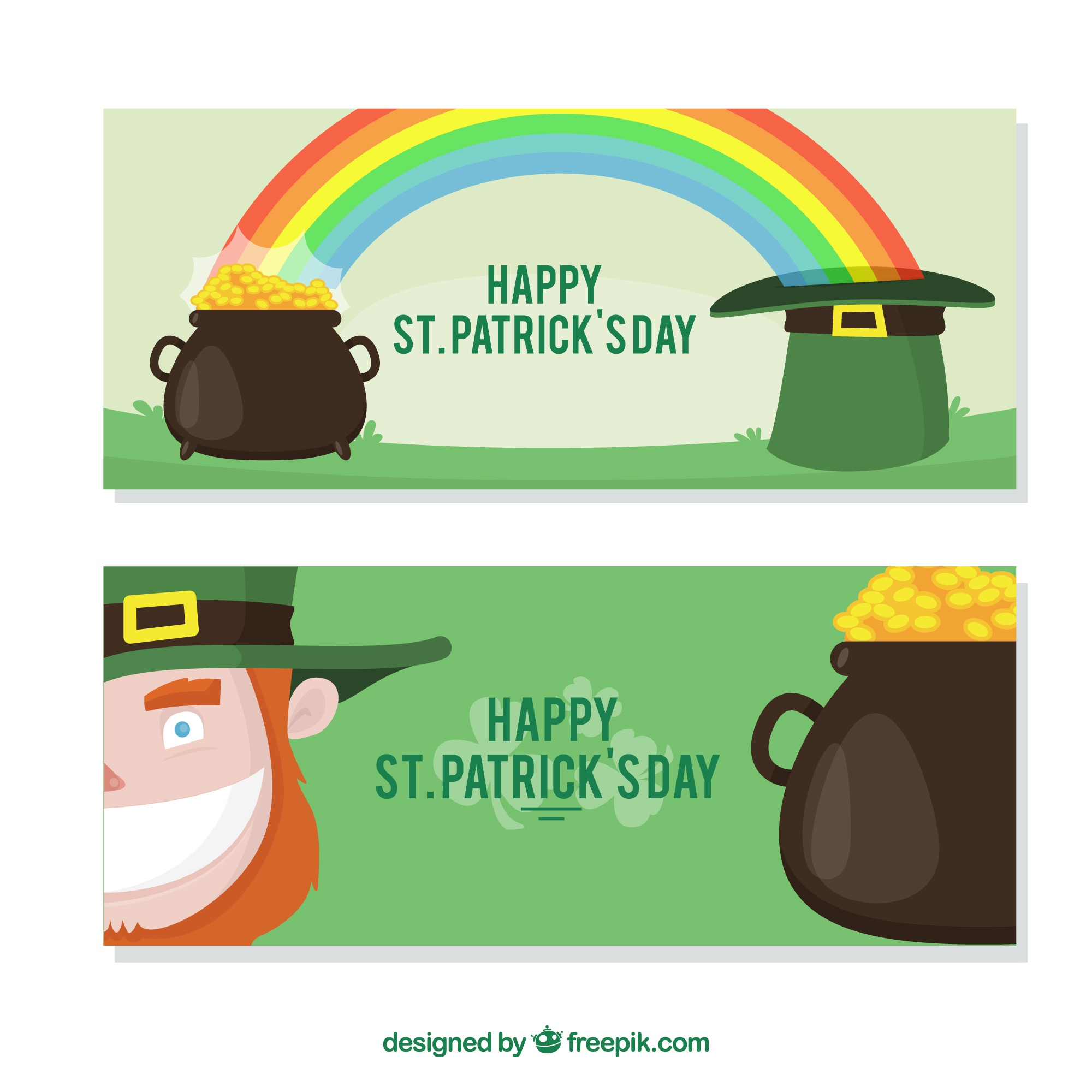 Fantastic banners with leprechaun and cauldron for st patrick's day