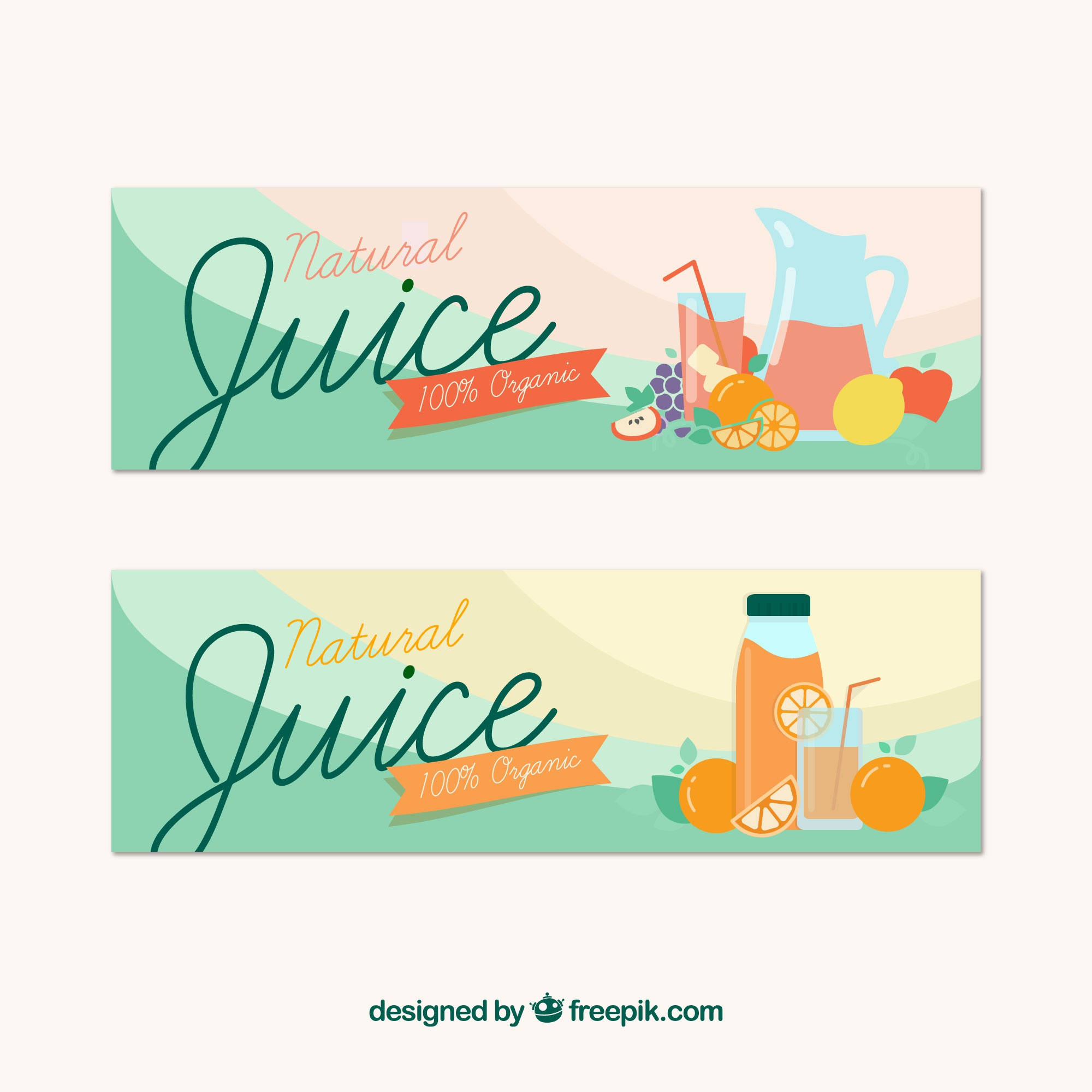 Fantastic banners with natural fruit juices