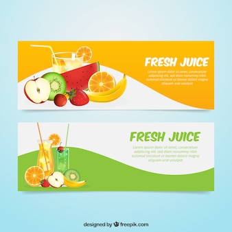 Fantastic banners with realistic fruits