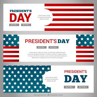 Fantastic banners with united states flag for president's day