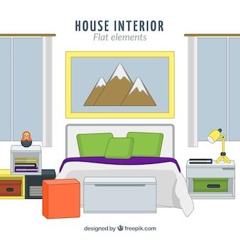 Fantastic bedroom in flat design