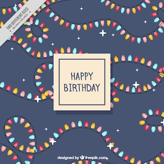 Fantastic birthday background with colored light bulbs