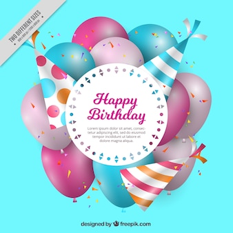 Fantastic birthday background with party hats and balloons in realistic style
