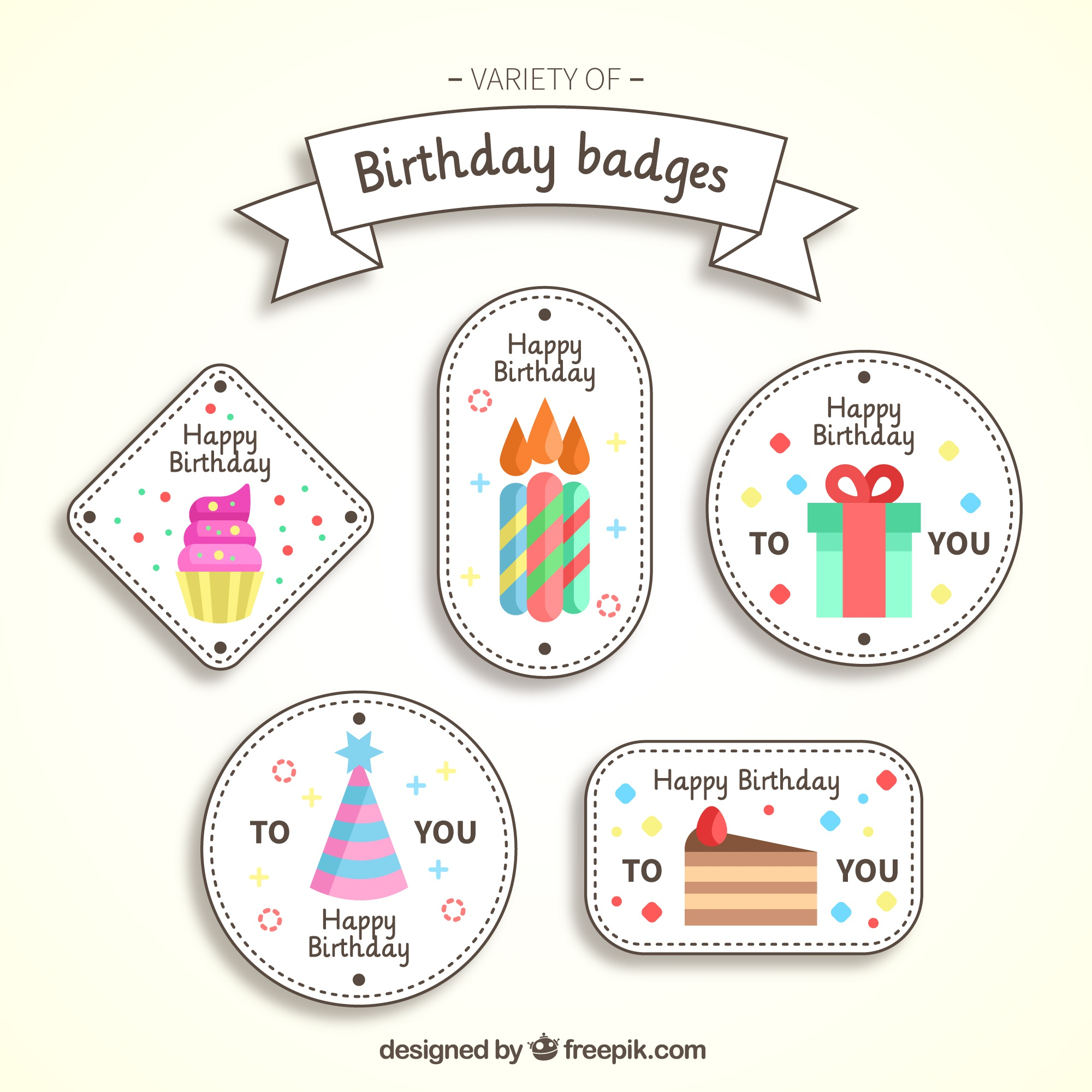 Fantastic birthday badges in flat design
