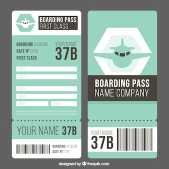 Fantastic boarding pass template in flat design