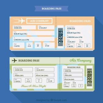 Fantastic boarding pass template with different colors