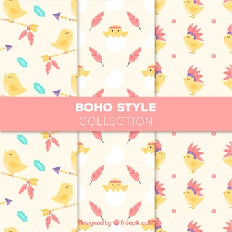 Fantastic boho patterns with cute chick
