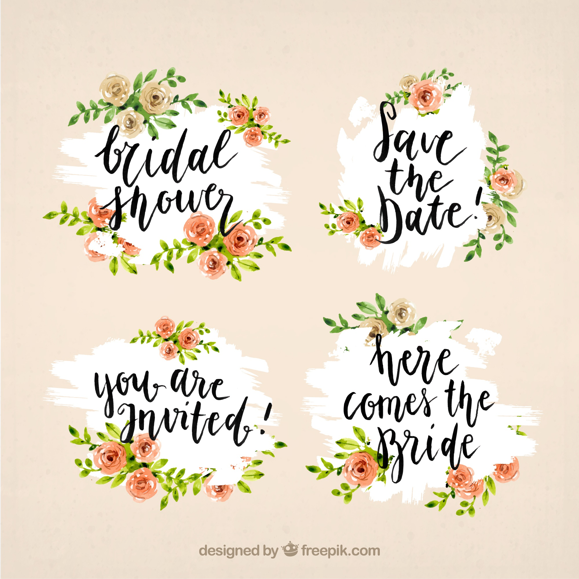Fantastic bridal shower frames with watercolor flowers
