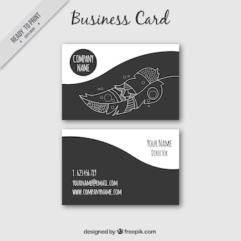 Fantastic business card with decorative feather