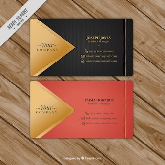 Fantastic business card with golden details