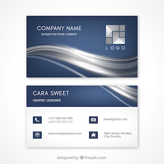 Fantastic business card with wavy lines