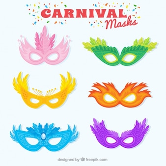 Fantastic carnival masks with decorative feathers