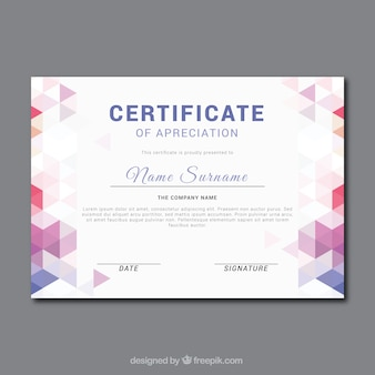 Fantastic certificate of appreciation with color geometric shapes