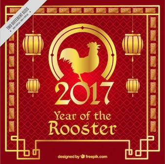 Fantastic chinese new year background with golden frame and lanterns