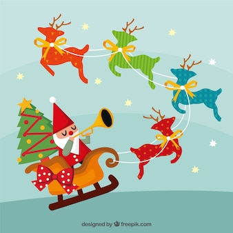 Fantastic christmas background with santa claus and colorful deers