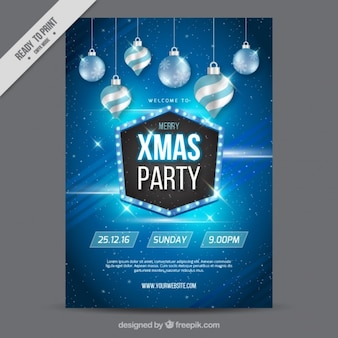 Fantastic christmas poster with shiny baubles