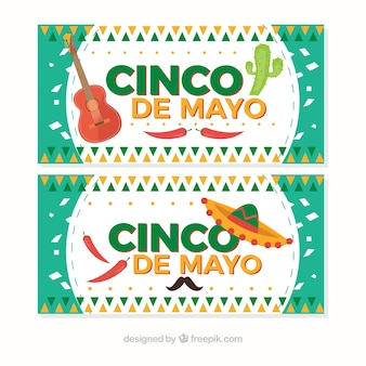Fantastic cinco de mayo banners with decorative items