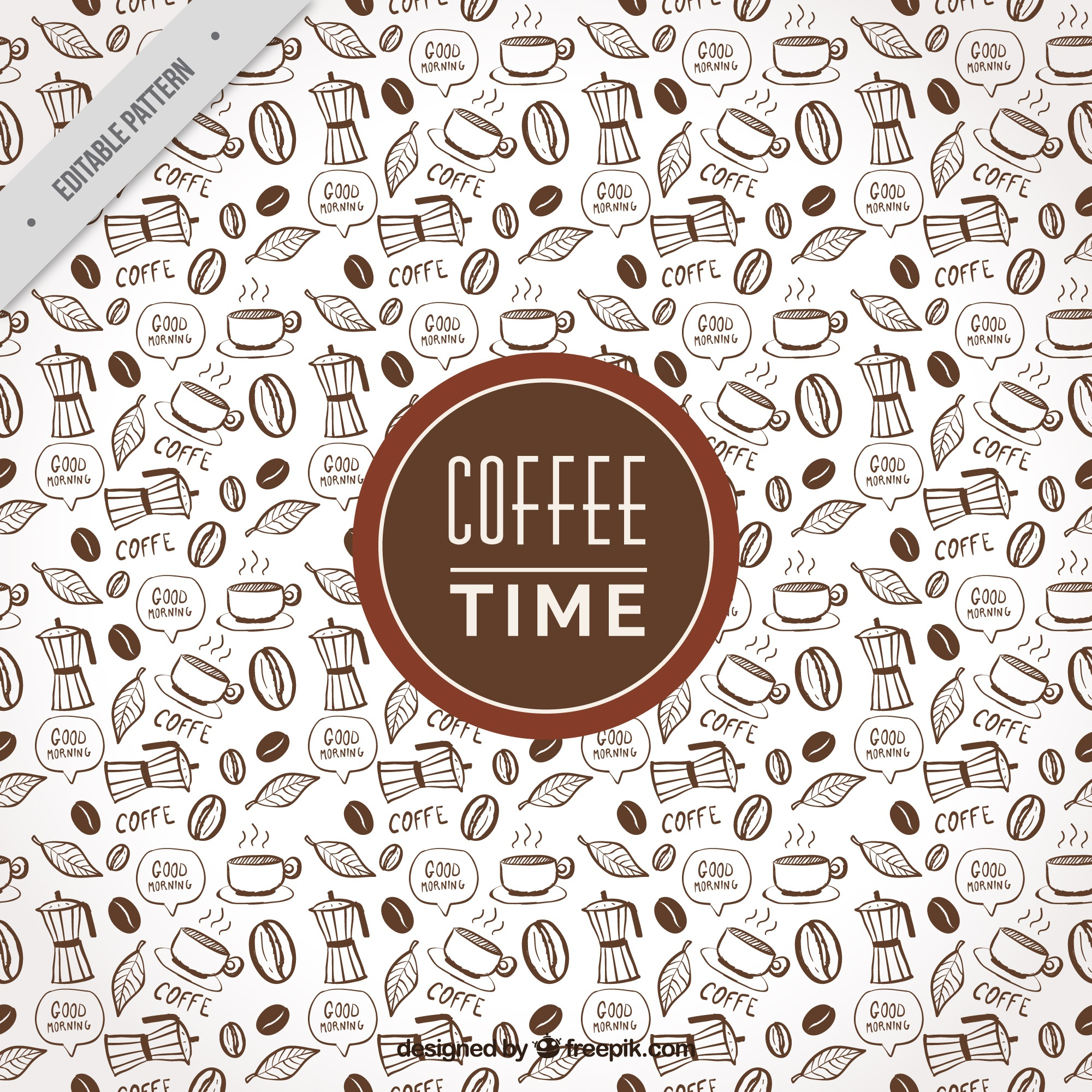 Fantastic coffee pattern with decorative items