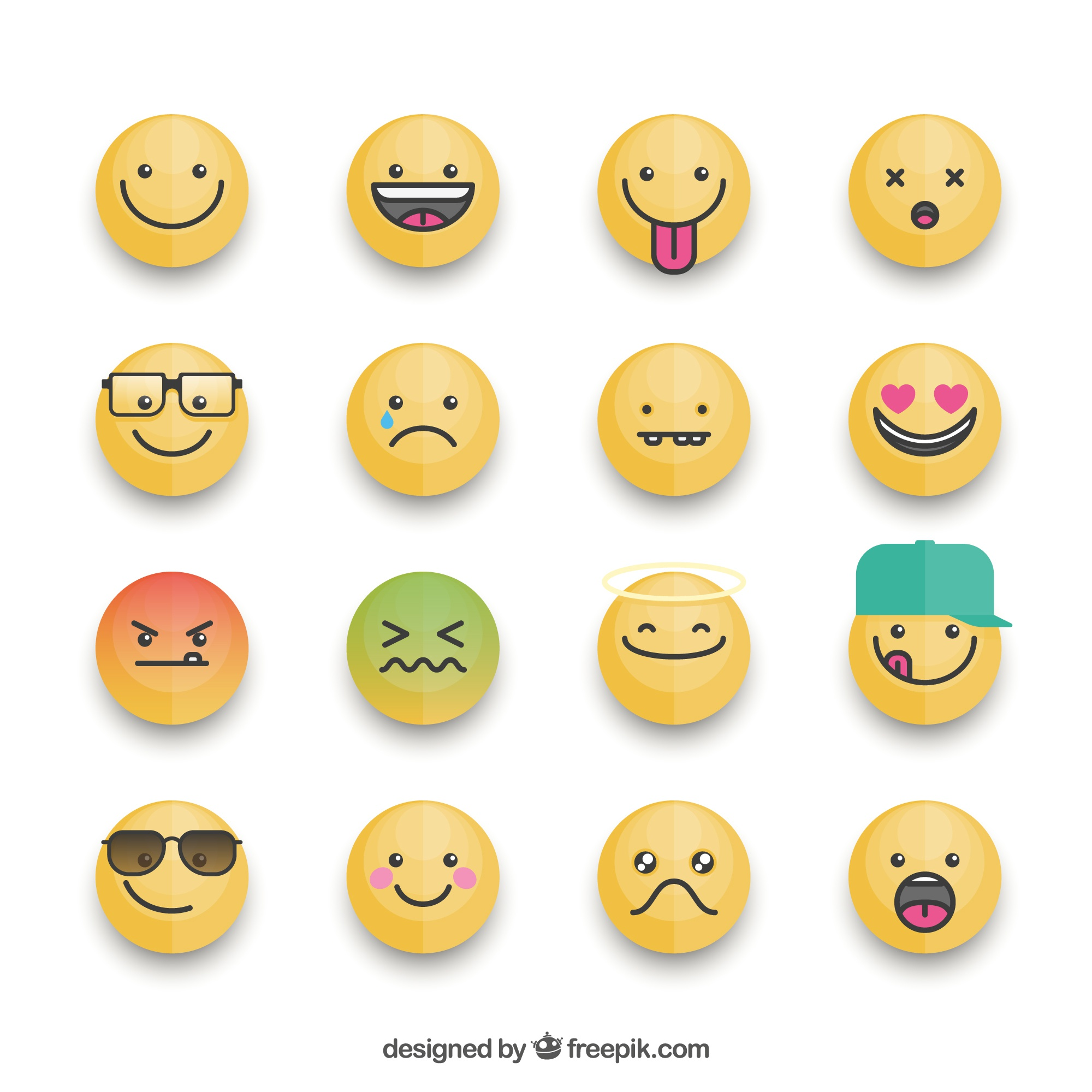 Fantastic collection of emoticons with different expressions