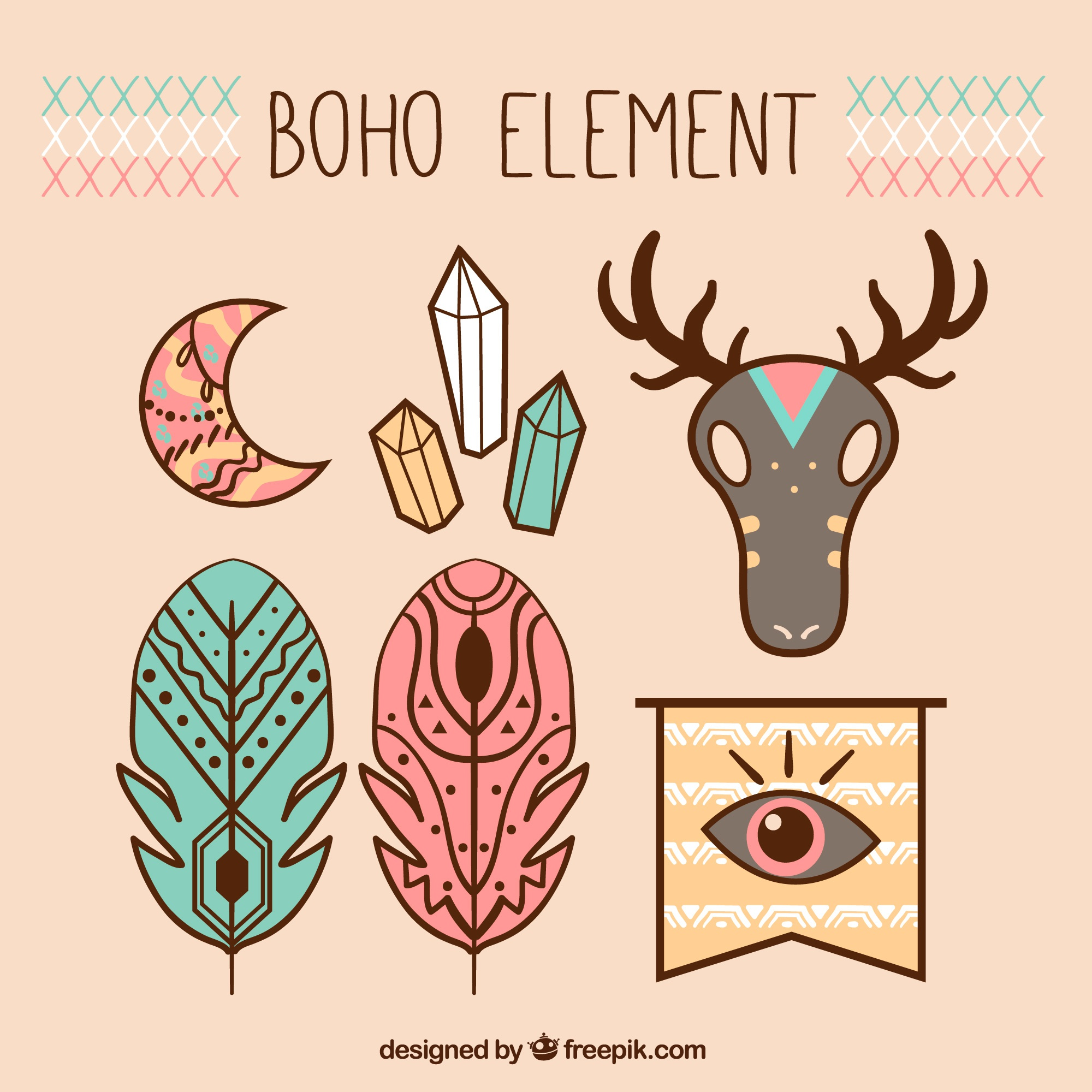 Fantastic colored objects in boho style