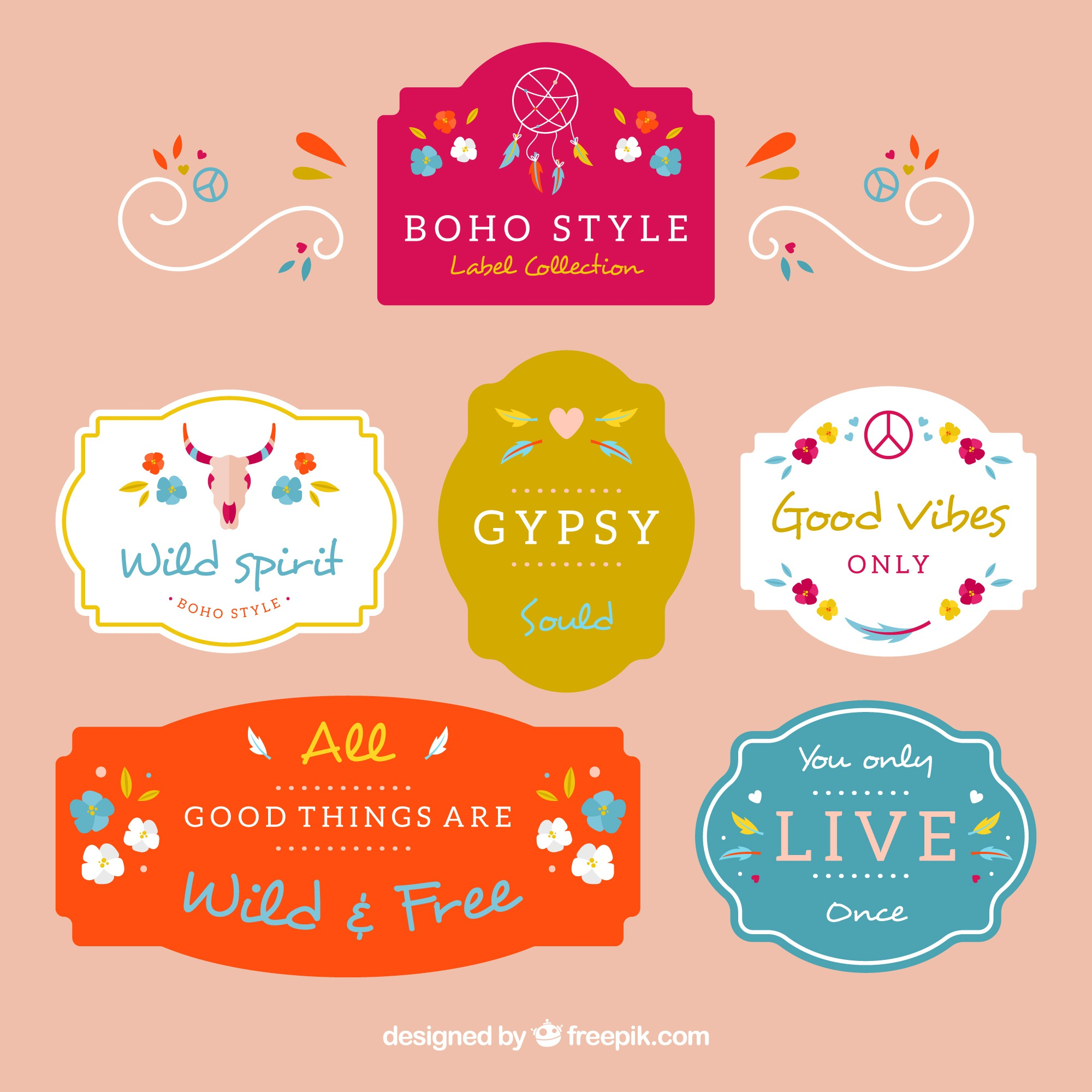 Fantastic colorful labels with ethnic elements