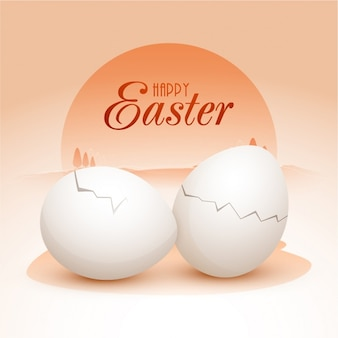 Fantastic easter background with two eggs