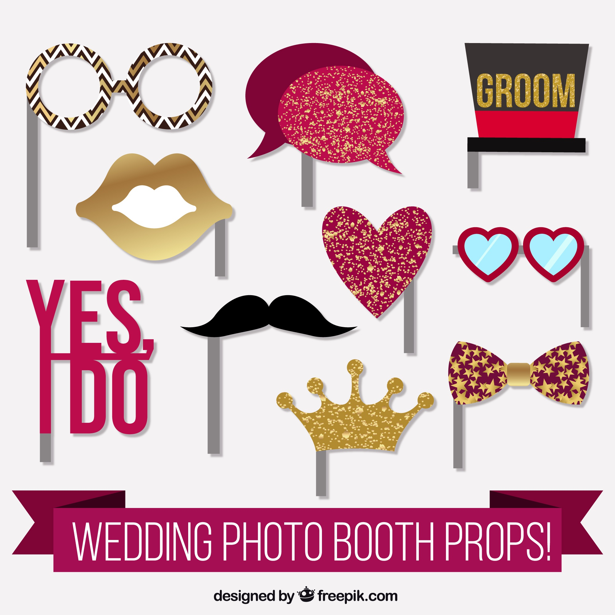 Fantastic elements for wedding photo booth