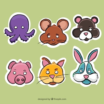 Fantastic emoticon stickers with different animals
