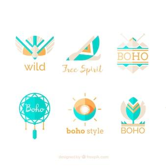 青の要素を持つ素晴らしい民族ロゴ