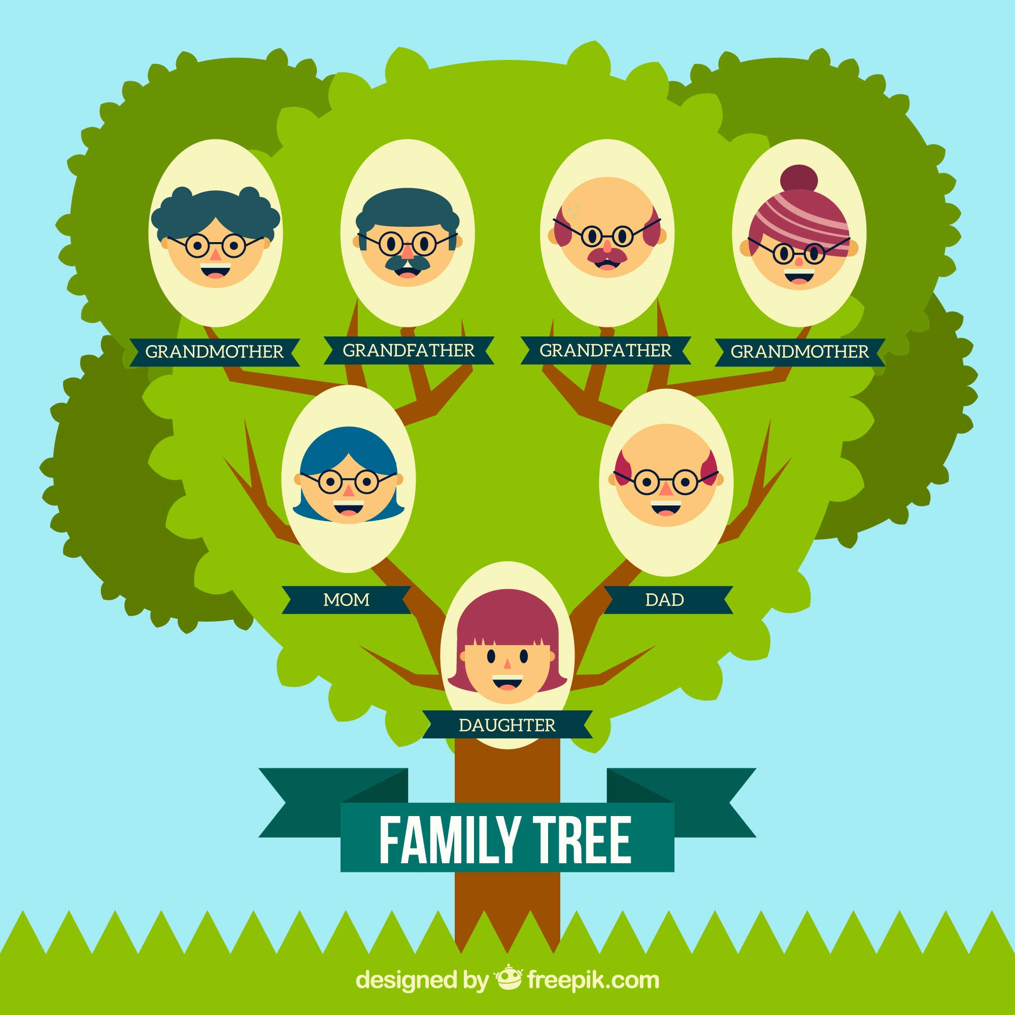 Fantastic family tree with smiling members