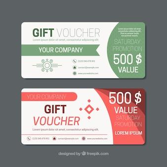 Fantastic gift vouchers with color details in flat design