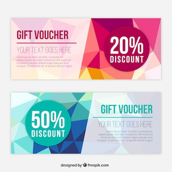Fantastic gift vouchers with polygonal shapes