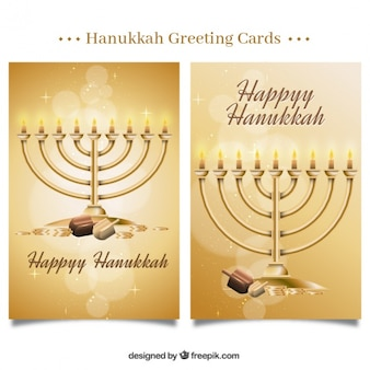 Fantastic hanukkah greeting cards with shiny forms