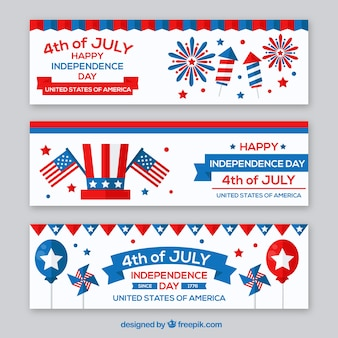 Fantastic independence day banners with colored elements