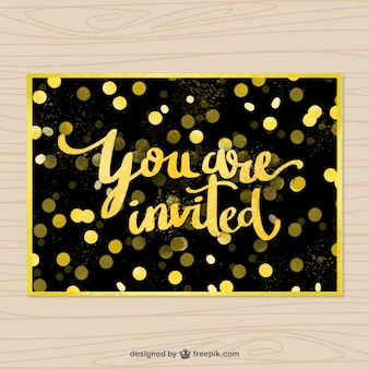 Fantastic invitation with golden confetti