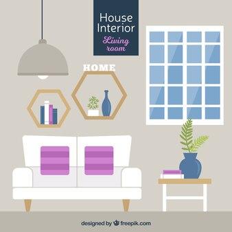 Fantastic living room in flat design