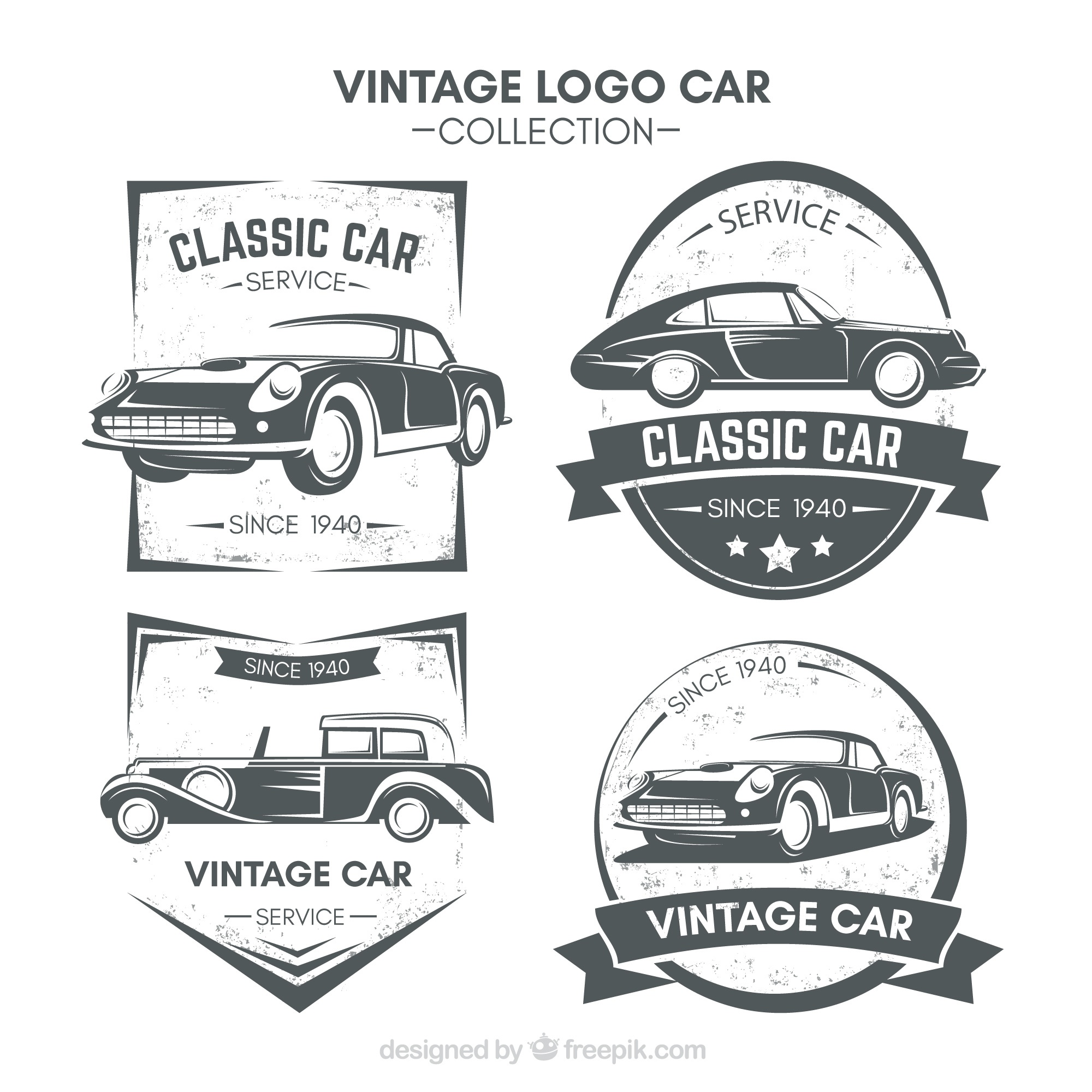 Fantastic logos with vintage cars