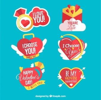 Fantastic love stickers in flat design